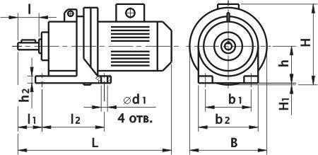 Мотор редуктор планетарный ЗМП-31.5. Исполнение на лапах