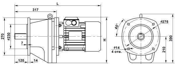 Мотор-редуктор 4МЦ2С-63. Фланцевое исполнение