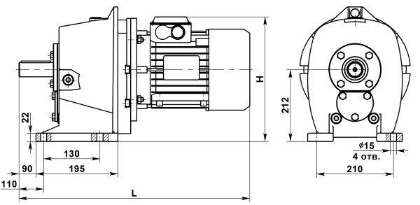 Двухступенчатый мотор-редуктор МЦ2С-100. Исполнение на лапах