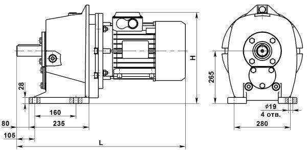 Двухступенчатый цилиндрический мотор-редуктор МЦ2С-125. Исполнение на лапах