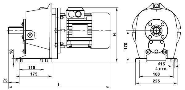 Мотор редуктор цилиндрический МЦ2С-80. Исполнение на лапах