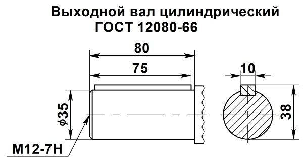 Цилиндрический выходной вал мотор редуктора 4МЦ2С-80