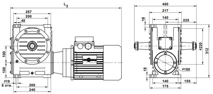 Габаритные и присоединительные размеры мотор-редуктора МЧ-100