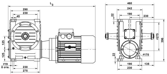 Габаритные и присоединительные размеры мотор-редуктора МЧ-125